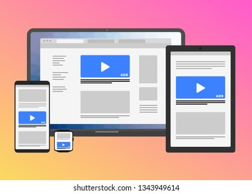 Responsive web design flat vector concept with multiple devices - Laptop, tablet PC, mobile phone and smart watch isolated on bright gradient background