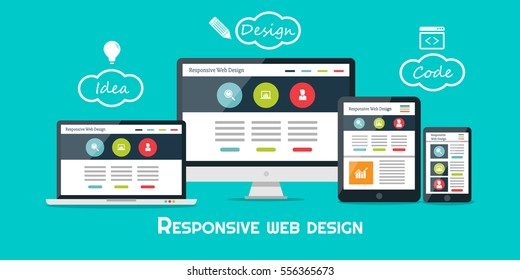Responsive web design flat vector, web design technology, including laptop, desktop, tablet and mobile phone