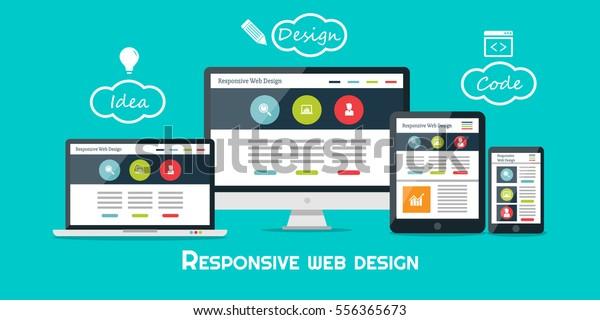 Diseño web resistente, vectorial plano, tecnología de diseño web, incluyendo portátil, escritorio, tableta y teléfono móvil