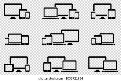 Responsive web design icons in different positions on transparent background. Vector illustration.