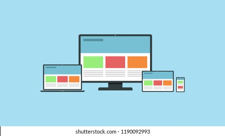Responsive web design on different devices. Vector illustration of a responsive web design on desktop, laptop, tablet and smartphone. EPS10 compatible