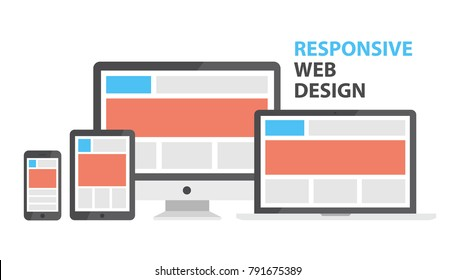 Responsive web design. Single site to support many devices, web page render well on a variety of screen sizes. Vector flat style cartoon responsive design illustration isolated on white background