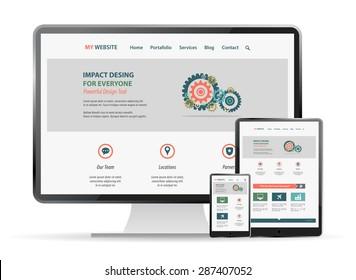 responsive web site  design mockup