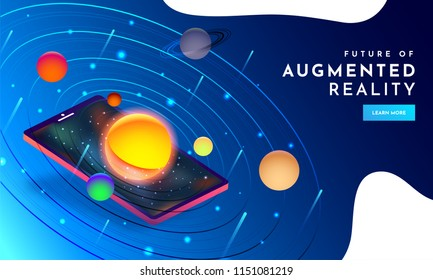 Responsive web template design with isometric illustration of space with planets on smartphone screen for Augmented Reality (AR) concept.