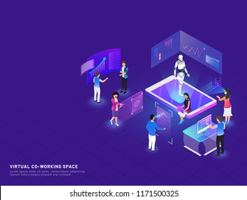 Responsive web template design with isometric illustration of business people analysis data through vr glasses, biometric face identity scanner for Virtual Co-Working Space concept.