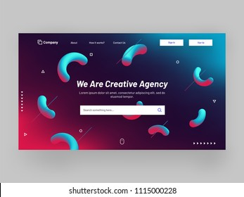Responsive website banner or landing page design with fluid art abstract elements for creative agency concept.