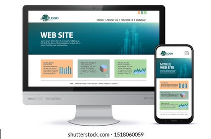 Responsive Website Design With Desktop Computer Screen and Mobile Phone Vector Illustration.