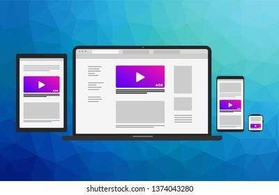 Responsive website in electronic devices - laptop, tablet, smartphone, smart watch. Web design flat modern design element
