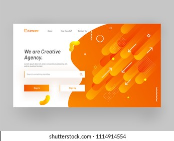 Responsive website or mobile app landing page with geometrical abstract design for creative agency concept.