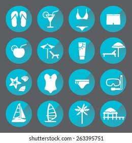Rest, beach circle icon set. Recreation and relaxation