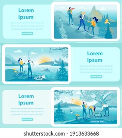 Rest in Countryside Flat Web Banner Templates Set. Young People Climbing Mountains. Romantic Couple Fishing at Sunrise. Friends Enjoying Treasure Hunt in Park. Summer Relax Promo Homepages Pack