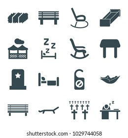 Rest icons. set of 16 editable filled rest icons such as table, woman in hammock, rocking chair, bench, man sleeping on table, pergola, sunbed, headstone, cemetery