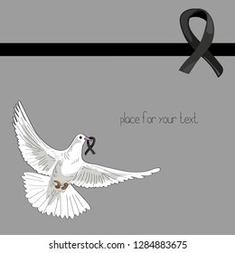 Rest in Peace. Flying pigeon with black ribbon on light grey background. Vector illustration of white pigeon flying on grey background with black ribbon. RIP