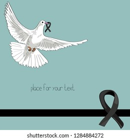 Rest in Peace. Flying pigeon with black ribbon on blue background. Vector illustration of white pigeon flying on turquoise background with black ribbon. RIP