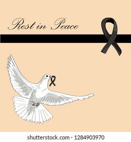 Rest in Peace. Flying pigeon with black ribbon on light orange background. Vector illustration of white pigeon flying. RIP