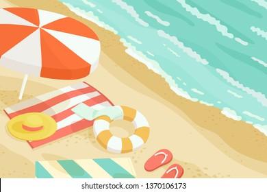 Rest at the Seaside, Vector, Illustration