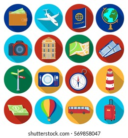 Rest and travel set icons in flat style. Big collection of rest and travel vector symbol stock illustration