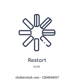 restart icon from user interface outline collection. Thin line restart icon isolated on white background.
