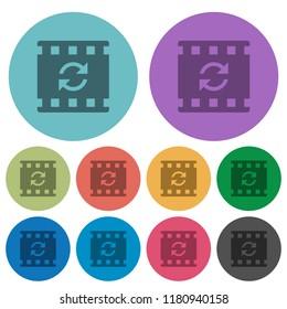 Restart movie darker flat icons on color round background
