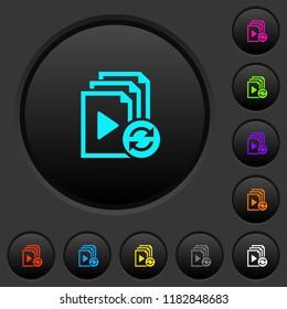 Restart playlist dark push buttons with vivid color icons on dark grey background