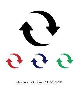 Restart vector icon, Update sign, Refresh symbol, Flat restart set
