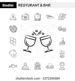 Restaurant And Bar Hand Drawn Icon for Web, Print and Mobile UX/UI Kit. Such as: Casino, Gambling, Game, Group, House, Camera, Entertainment, Image, Pictogram Pack. - Vector
