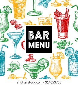 Restaurant and bar menu. Hand drawn sketch cocktails vector illustration