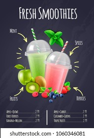 Restaurant or bar menu page with fresh smoothies realistic composition with ingredients labeling vector illustration