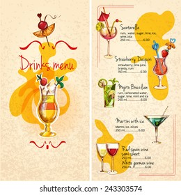 Restaurant bar wine cocktails and alcoholic drinks menu sketch vector illustration