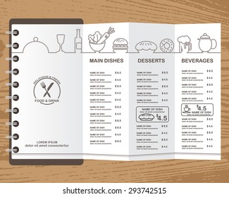 restaurant, bistro and cafe menu, infographics background and elements wooden design. Can be used for layout, banner, web design, brochure template. Vector illustration