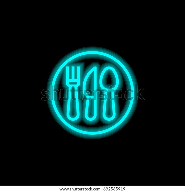 Restaurant blue glowing neon ui ux icon. Glowing sign logo vector