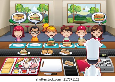 Restaurant with boys girls kids cartoon indoor vector illustration fast food chef