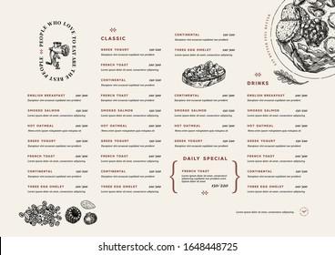Restaurant breakfast menu template. Cafe identity. Minimalist style. Engraved illustrations. Vector illustration