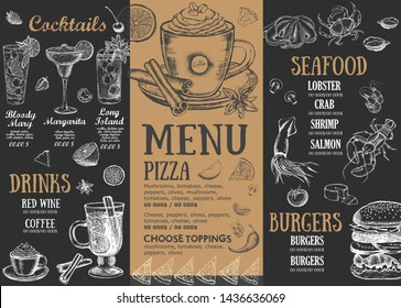 Restaurant brochure vector menu, template design. Food flyer.