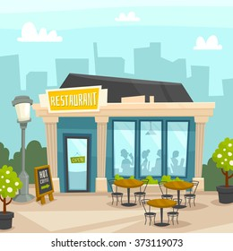Restaurant building city background street vector illustration cafe bistro dinner coffee house