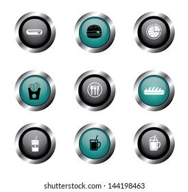restaurant buttons over white background vector illustration