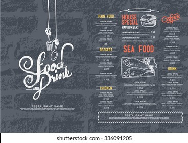 Restaurant cafe menu, brick wall background and texture template.