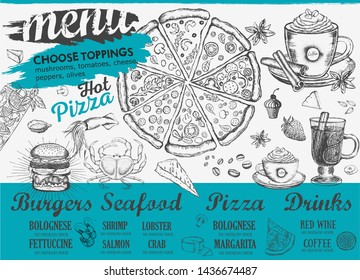 Restaurant cafe menu, template design. Food flyer. Hand drawn illustration.
