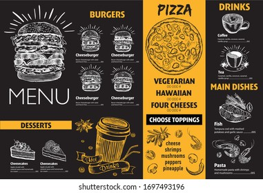 Restaurant cafe menu, template design. Flyer with hand-drawn graphic.