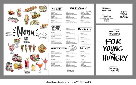 Restaurant cafe menu, template design. Watercolor hand drawn. Vector illustration.