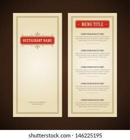 Restaurant or cafe menu vector design template vintage style. Flourishes calligraphic.