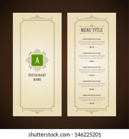 Restaurant or cafe menu vector design template vintage style. Flourishes calligraphic.