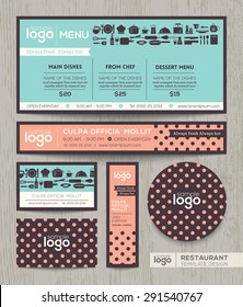 Restaurant cafe vector menu design template with pastel polka dot pattern background