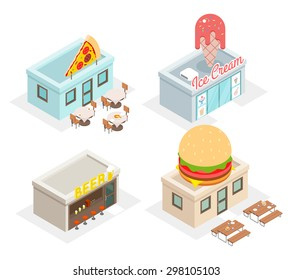 Restaurant, cafes and fast food shop icons. Beer and fastfood, pizzeria and ice cream, vector illustration
