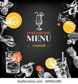 Restaurant chalkboard menu. Hand drawn sketch cocktails and fruits vector illustration
