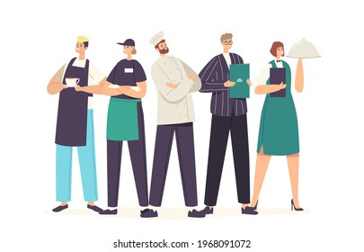 Restaurant Characters Team in Uniform Demonstrating Menu. Staff of Cafe, Pizzeria, Bakery Shop or Cafeteria, Hospitality, Men and Women Waiters, Chef, Administrator. Cartoon People Vector Illustration