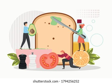 Restaurant chefs tiny male female characters cooking huge delicious sandwich avocado toast, vector flat illustration. Toasted slice of bread with fresh avocado, tomato, seasoning. Healthy organic food