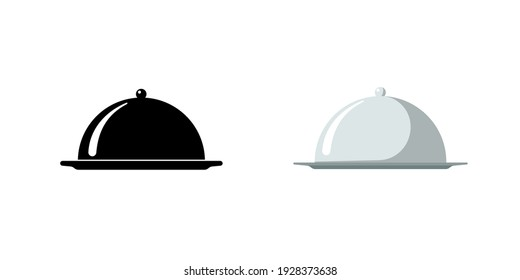 Restaurant cloche. Cafe food serving tray icon set. Covered dish symbol black and silver on white background. Food platter serving signs. Vector isolated illustration