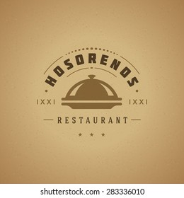 Restaurant Cloche Design Element in Vintage Style for Logotype, Label, Badge and other design. Tray retro vector illustration.