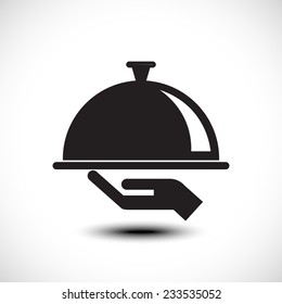 Restaurant cloche in hand the waiter. Vector illustration